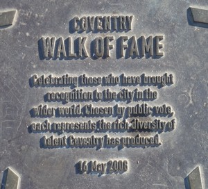 Coventry Walk of Fame Plaque 16/05/2008