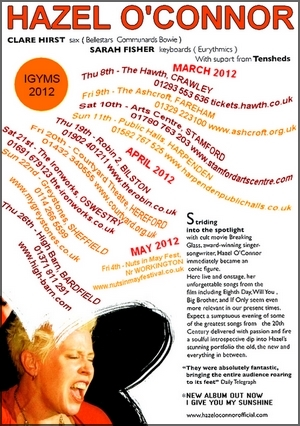 HAZEL O'CONNOR - MAR APR MAY 2012 TOUR