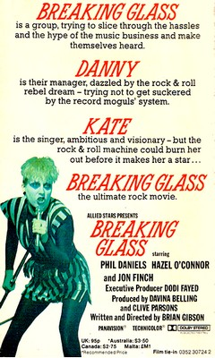 Hazel O'Connor Breaking Glass book by Susan Hill 1980