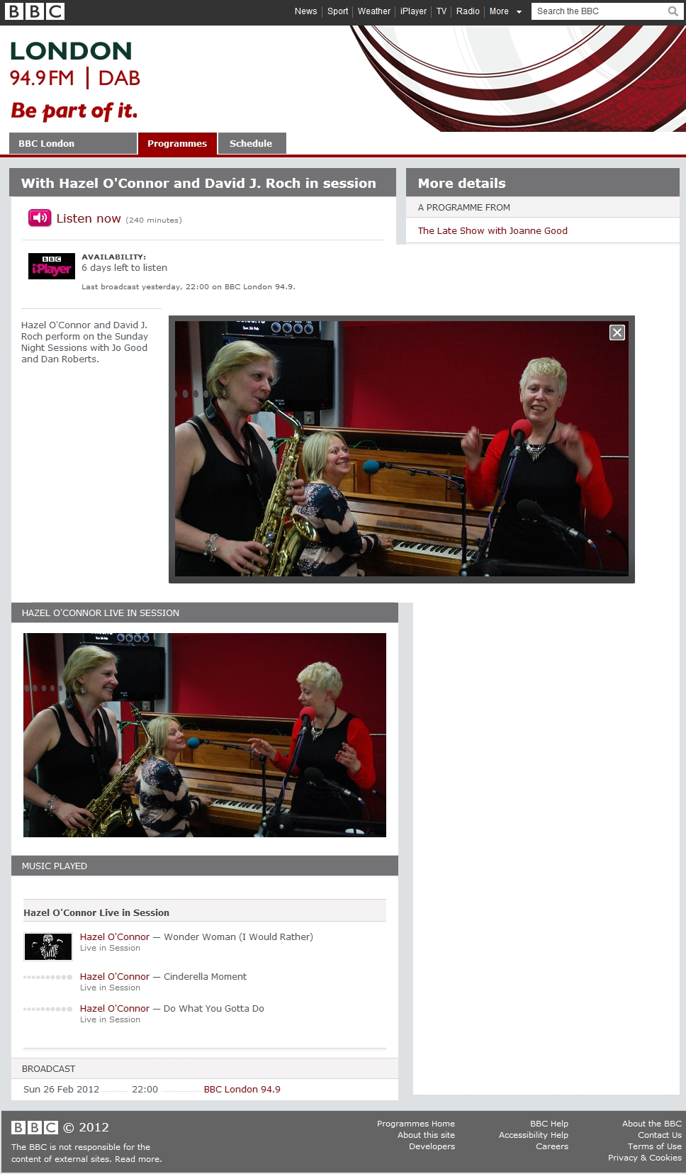 HAZEL O'CONNOR - CLARE HIRST - SARAH FISHER - BBC LONDON JOANNE GOOD - FEB 2012