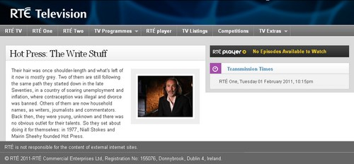 Hazel on RTE 1 on 1st Feb 2011