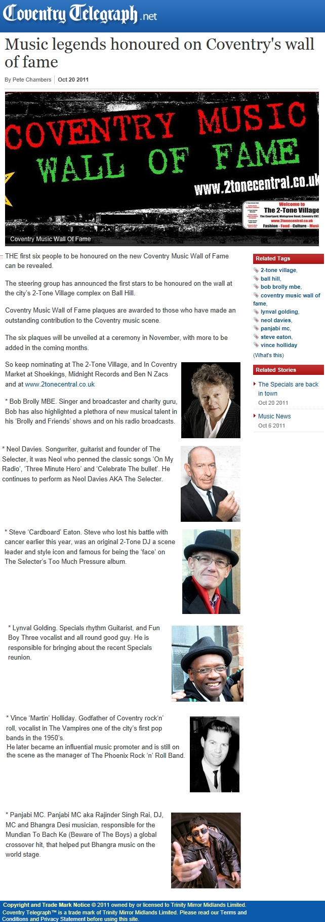 The Coventry Music Wall Of Fame - Coventry Telegraph 20 Oct 2011