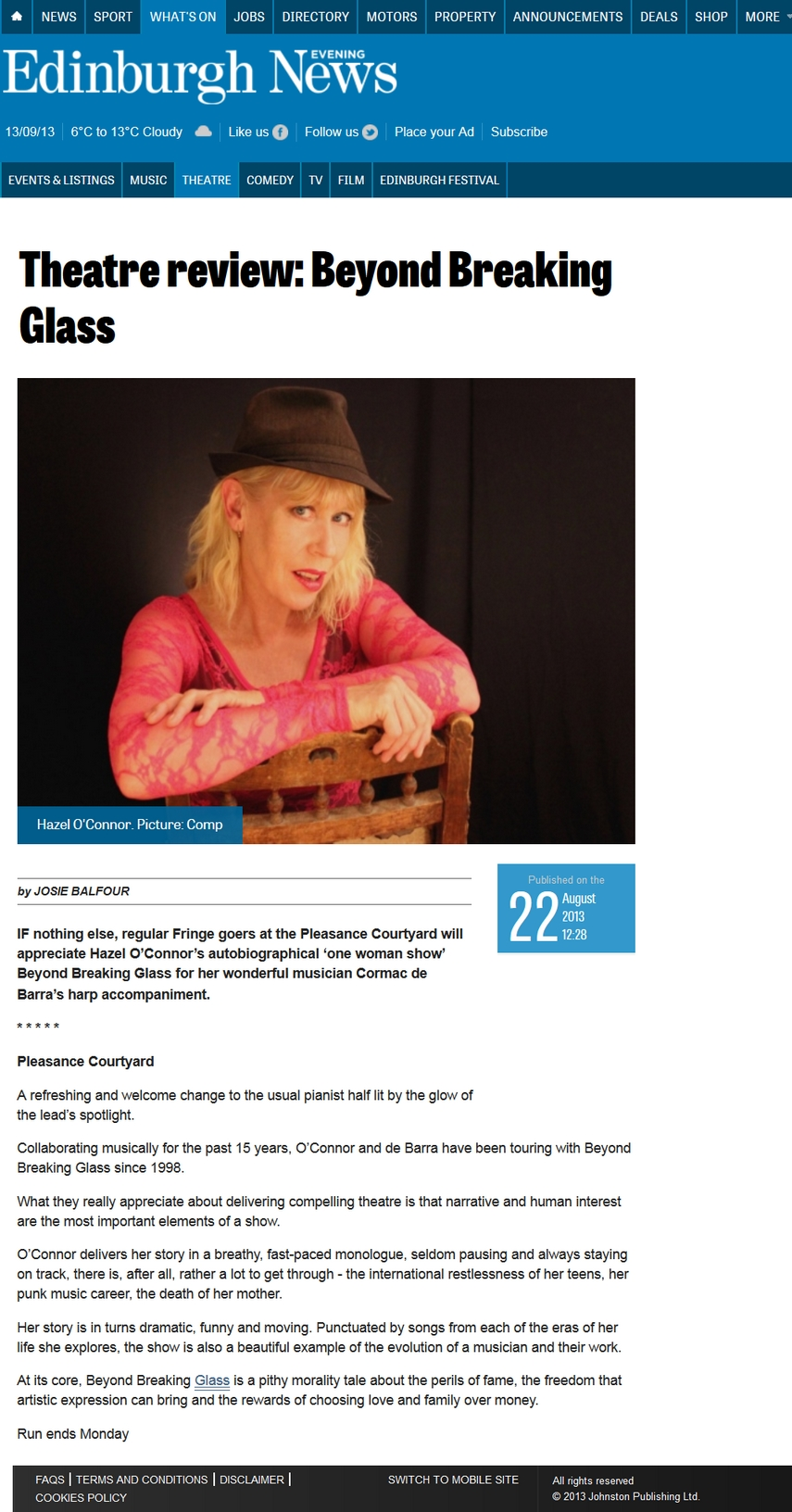 HAZEL O'CONNOR - CORMAC DE BARRA - BEYOND BREAKING GLASS - EDINBURGH EVENING NEWS - 22 AUG 2013