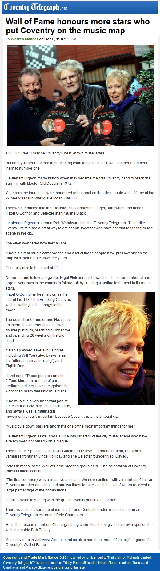 Hazel O'Connor in COVENTRY TELEGRAPH 06 DEC 2011