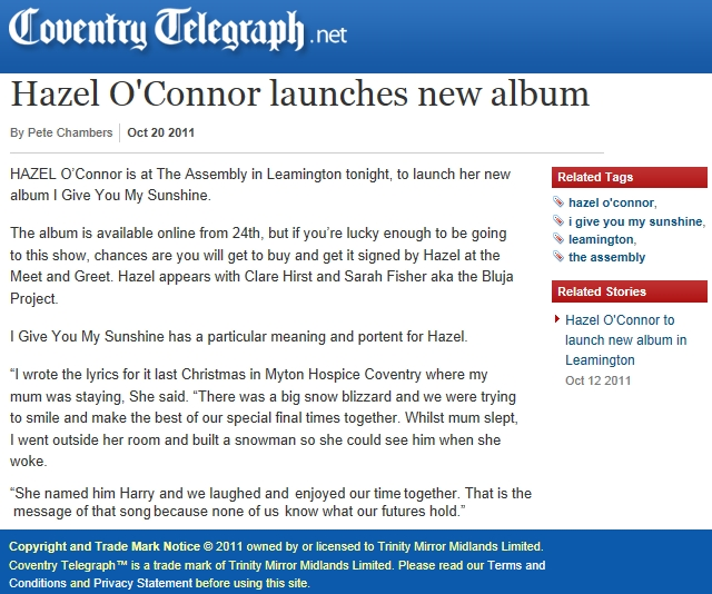 Hazel O'Connor in COVENTRY TELEGRAPH 20 Oct 2011