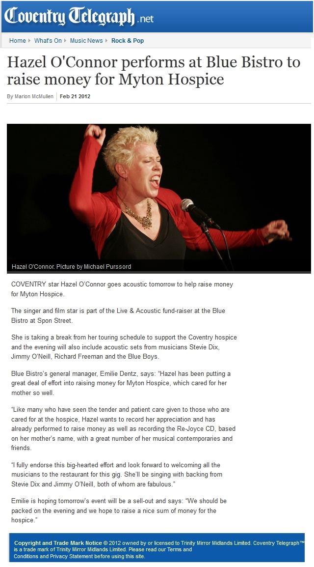 Hazel O'Connor in COVENTRY TELEGRAPH 21 FEB 2012