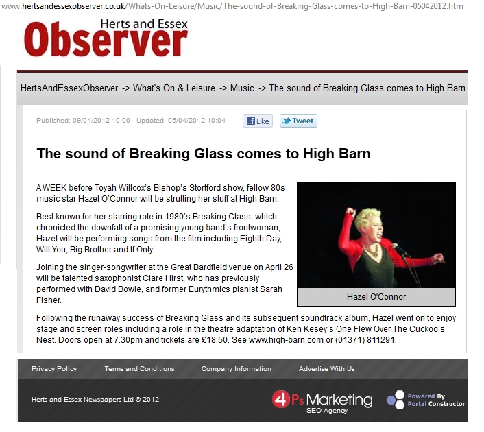 Hazel O'Connor in HERTS AND ESSEX OBSERVER 09 APR 2012