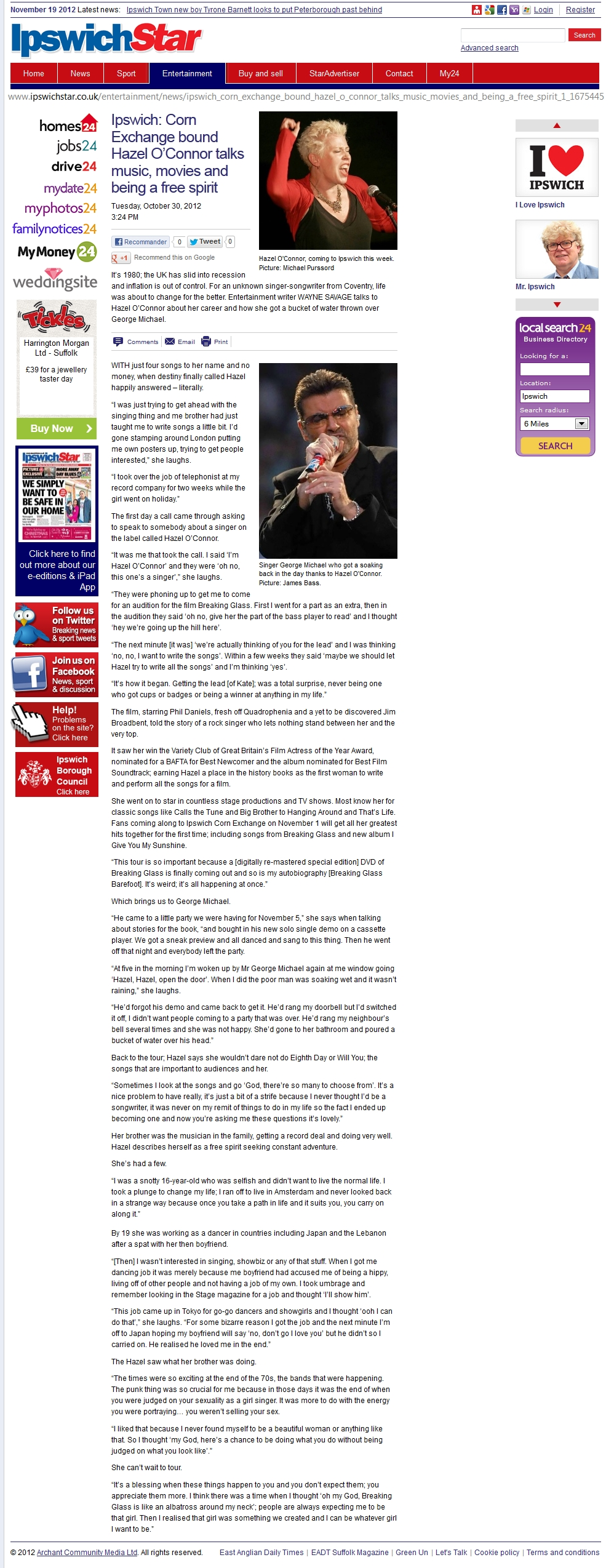 HAZEL O'CONNOR IN IPSWICH STAR - 30 OCT 2012