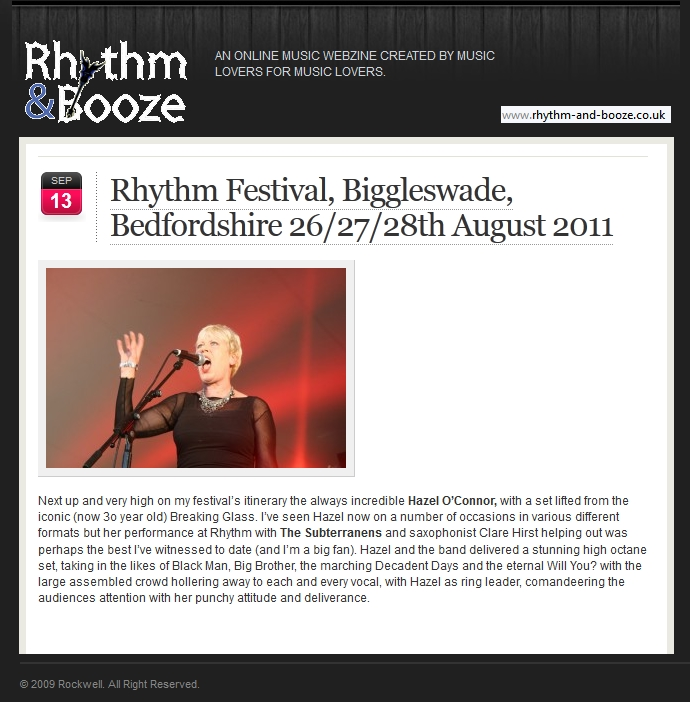 Hazel O'Connor in RHYTHM & BOOZE 13 Sep 2011