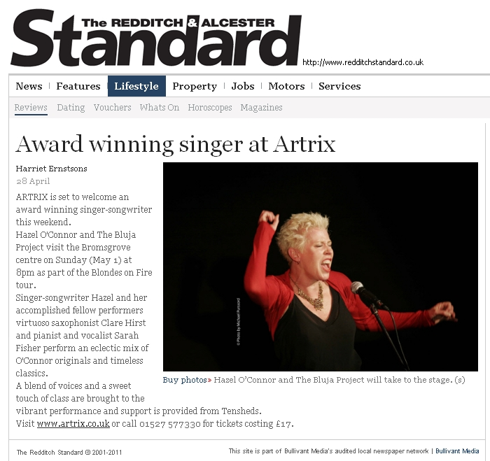 Hazel O'Connor in THE REDDITCH AND ALCESTER STANDARD 28 April 2011
