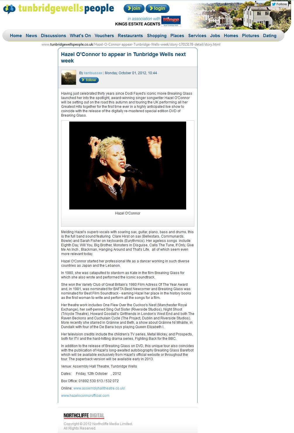 HAZEL O'CONNOR IN TUNBRIDGEWELLS PEOPLE - 01 OCT 2012