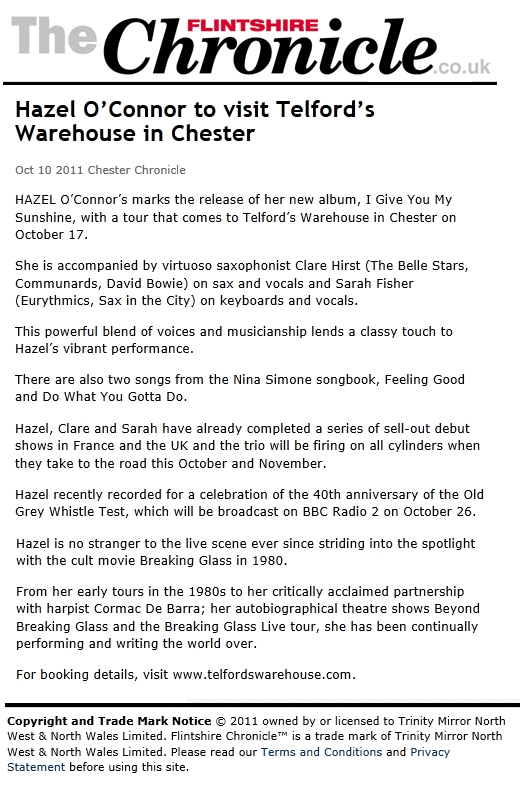 Hazel O'Connor in FLINTSHIRECHRONICLE.COM 10 Oct 2011