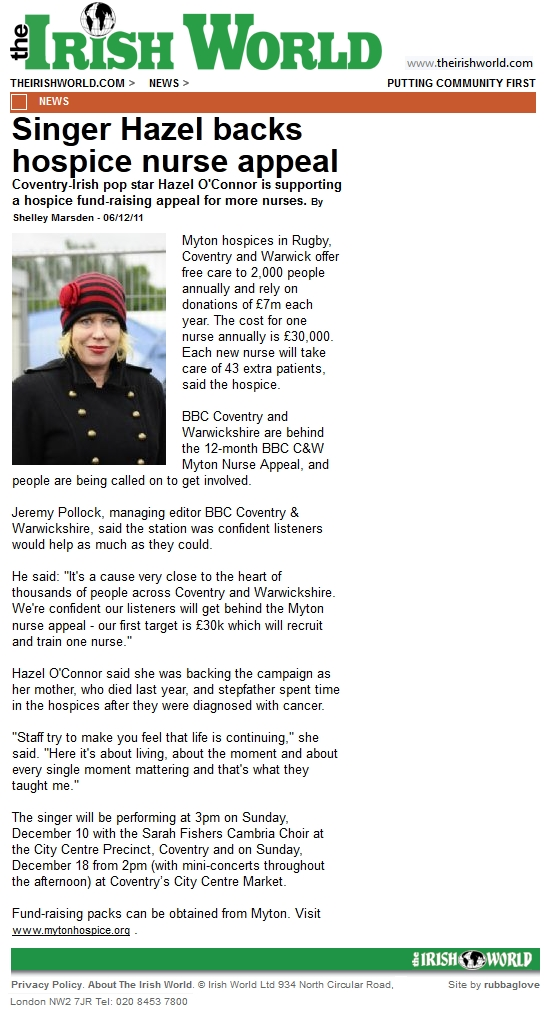 Hazel O'Connor in THE IRISH WORLD 06 DEC 2011