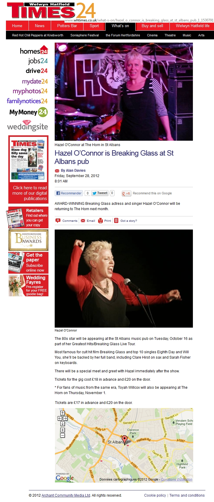 HAZEL O'CONNOR IN WELWYN HATFIELD TIMES 24 - 28 SEP 2012