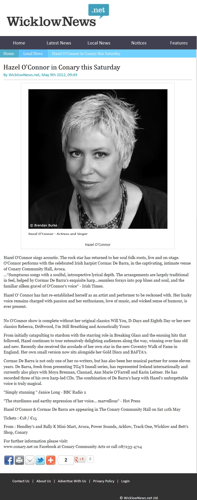 Hazel O'Connor in WICKLOW NEWS 09 MAY 2012