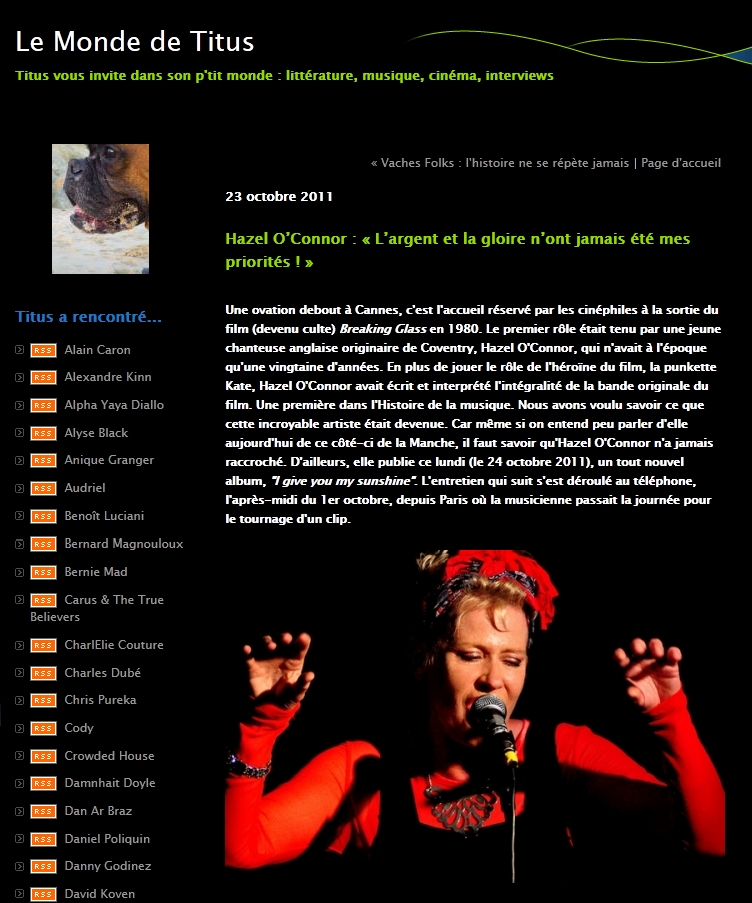 Hazel O'Connor in LE MONDE DE TITUS 23 Oct 2011