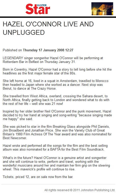 Hazel O'Connor on ULSTER STAR - 17 Jan 2008