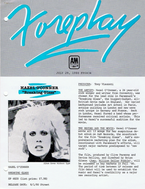 Hazel O'Connor - Foreplay34 Foreplay34 Info Sheet 1980