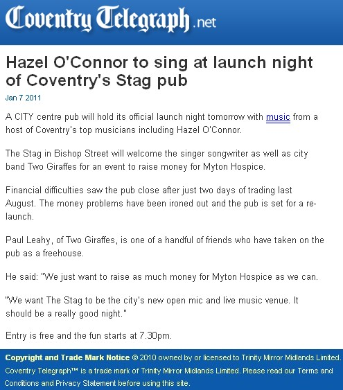 Hazel O'Connor - Coventry Telegraph 07 Jan 2011