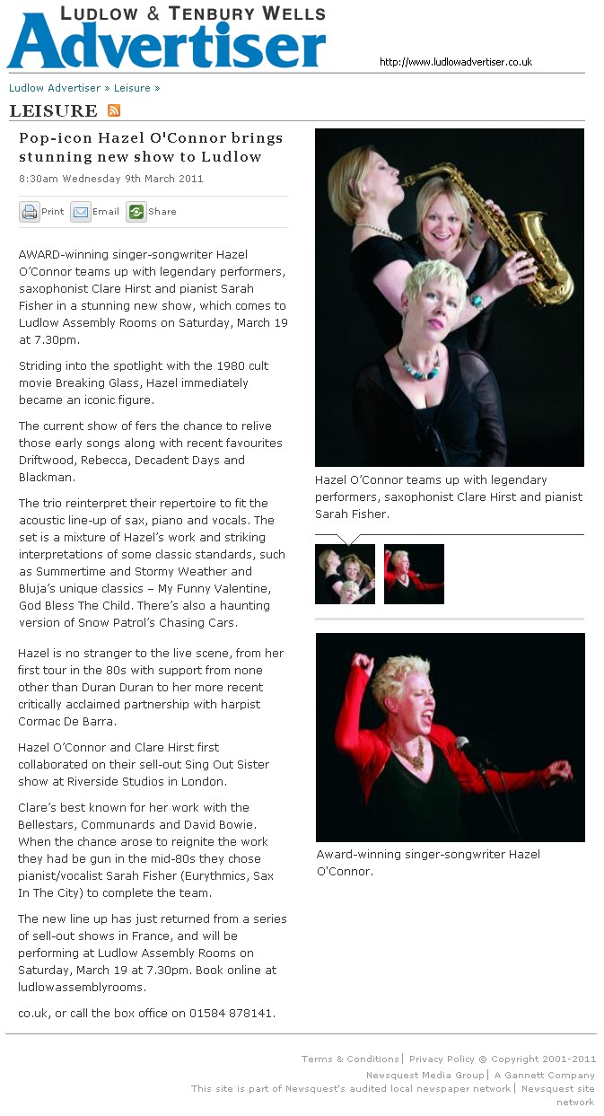 Hazel O'Connor in LUDLOW & TENBURY WELLS ADVERTISER 09 March 2011
