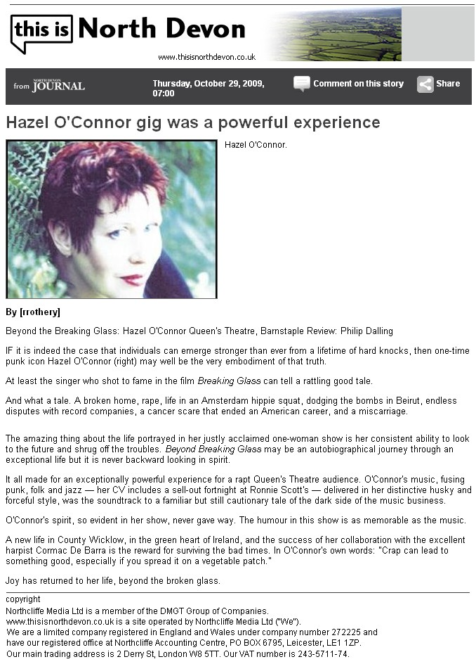 Hazel O'Connor in This Is North Devon Journal 29 Oct 2009